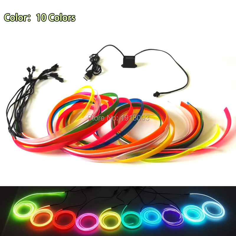 2.3mm Skirt 1Meter 10color Choice For Car Decoration EL wire ...
