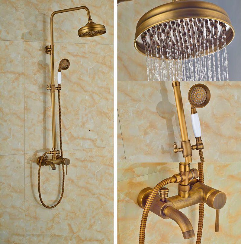 ღ ღLuxury Antique Brass Shower Set Wall Mounted Single Lever With ...