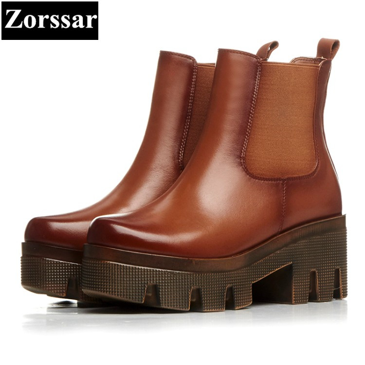 {Zorssar} 2018 NEW fashion thick heel Martin boots Genuine leather High heels platform women ankle boots Round Toe women shoes high quality genuine leather square heels martin boots for women round toe platform winter rhinestone snow martin boots