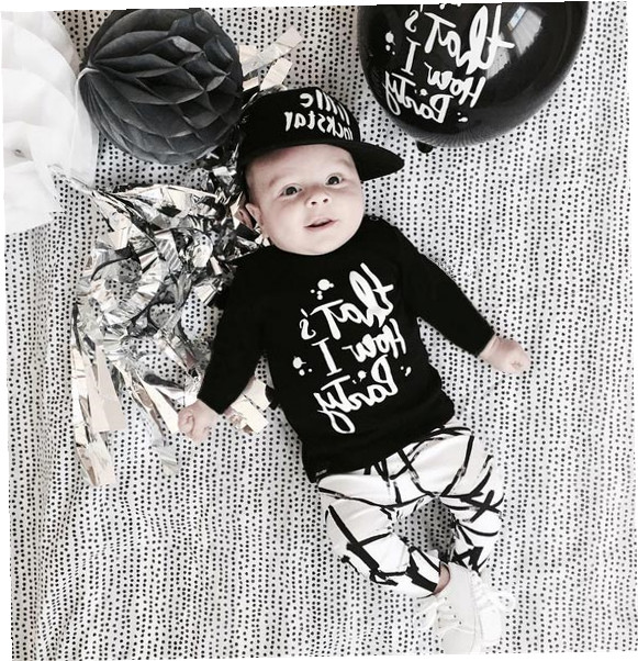 6027c5ad7 New 2019 autumn baby boy clothes newborn fashion black long-sleeved letter t-shirt+  stripe pants infant suit baby clothing sets