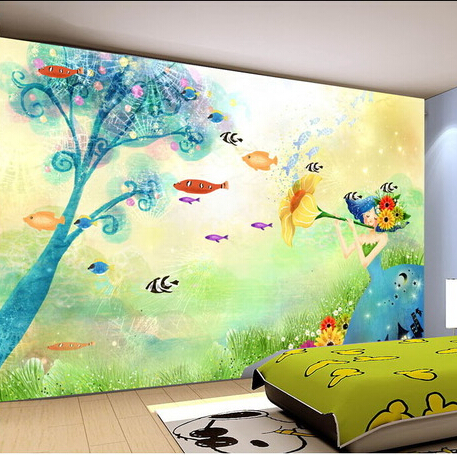 Custom hand-painted world children self-adhesive 3d wallpaper TV background wall-paper for living room sofa bedroom mural custom baby wallpaper snow white and the seven dwarfs bedroom for the children s room mural backdrop stereoscopic 3d