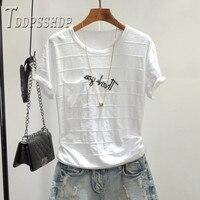 100% coton 3D rayure femmes t-shirt 2019 été doux tissu Alphabet femme t-shirt hauts