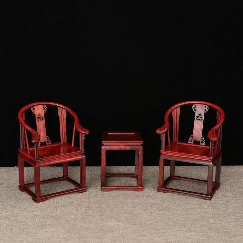 Bois rouge Miniature meubles ornements en bois Ming Qing dynastie classique acajou artisanat fait à la main en bois Table décoration artisanat - 2