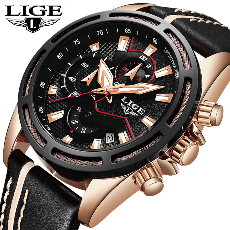 LIGE Fashion Gold Waterproof Mens Watches Top Brand Luxury Quartz Watch Men Leather Chronograph Sports Watches Relogio Masculino 2018 lige mens watches business top luxury brand quartz watch men leather dress waterproof sports chronograph relogio masculino
