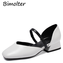 Bimolter Spring Women Mary Janes Shoes PU Leather High Heels Pumps Ankle Strap Dress Shoes Square Toe Pump zapatos mujer FB014 недорого