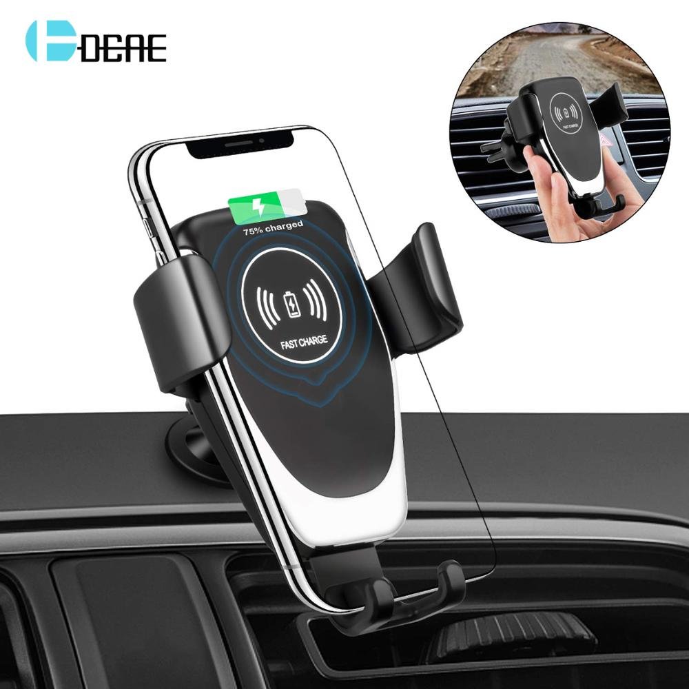 DCAE Wireless Car Charger Mount Auto Clamping Air Vent Phone Holder 10W Fast Charging for iPhone Xs Max XR X 8 Samsung S10 S9 S8 steel casing pipe