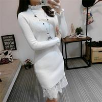 2018 Spring loaded new fungus collar slim slimming lace knit sweater dress female fashion long sleeved base skirt