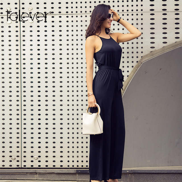 ed44d4cc3013 placeholder Summer Women White Black Jumpsuit Wide Leg Long Pants Sexy  Sleeveless Lace Up Strap Rompers Female