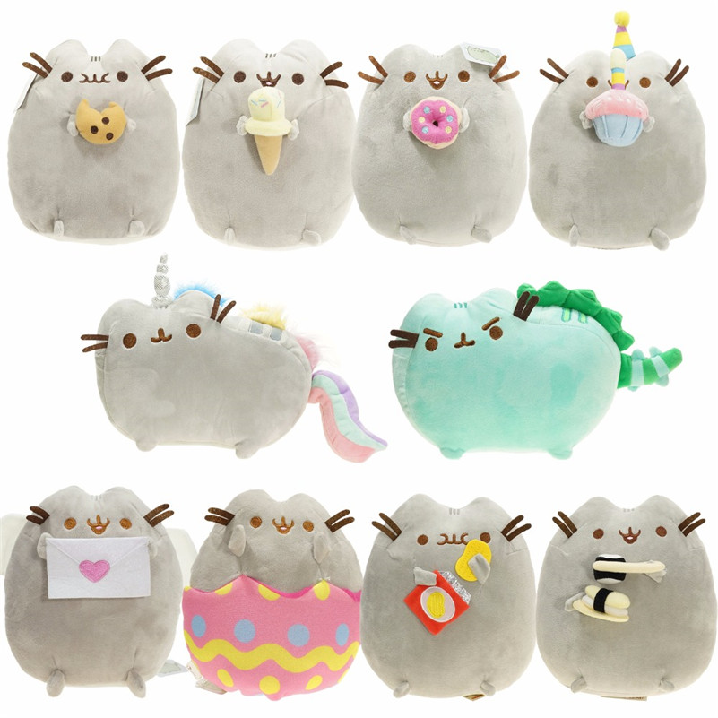 Kawaii Pusheen Cat Brinquedos 15cm 23cm Donuts Cupcake Sushi & Potato Chips Anime Plush Child Pussy Animal Toys Juguetes Gift kawaii pusheen cat brinquedos 15cm 23cm donuts cupcake sushi