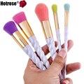 Pincéis de Maquiagem 5 pcs Rainbow Unicorn Hotrose cerdas sintéticas Escova Fundação Sombra Nova Chegada Colorido Maquiagem Escovar