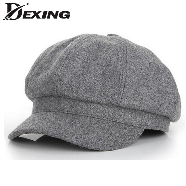 3af944ccd9e 2018 grey Vintage Fashion Octagonal Cap women Men Woolen Newsboy Cap Painter  ladies Beret Hat