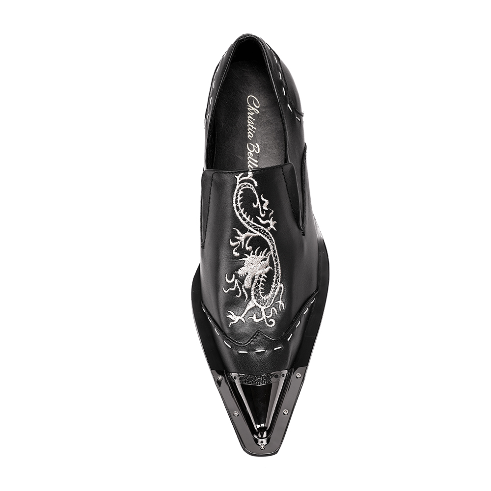 Christia Bella New Black Men Handmade Loafers with Dragon Embroidery USA Style  Fashion Party and Banquet Men s Flat Plus Size 47-in Formal Shoes from  Shoes ... 6122c6180810
