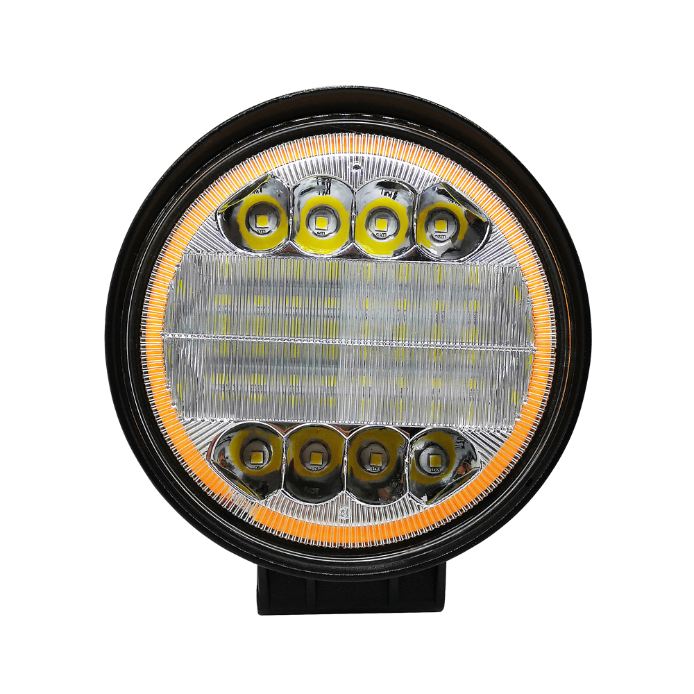 72W Round Cob Led Work Light 12v Spotlight For Offroad Truck SUV Driving Lamp Auto Adjust 3000K OR 6000K Daytime Running Lights in Light Bar Work Light from Automobiles Motorcycles