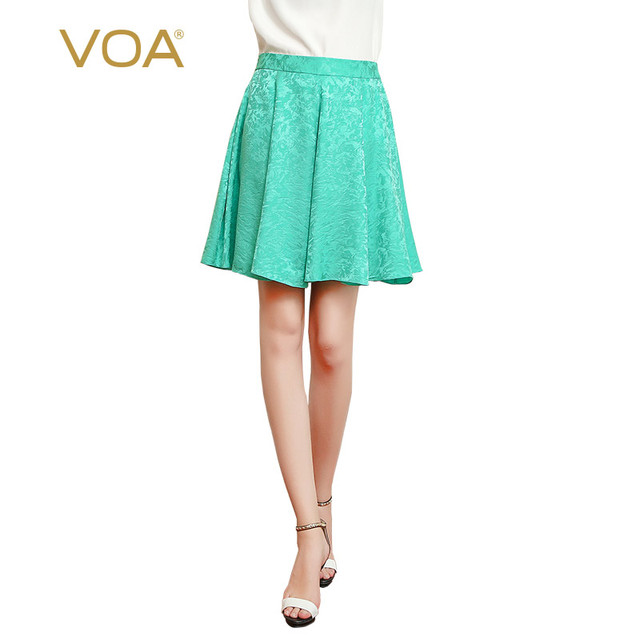 d7946febd8 VOA 2017 Summer Mid Waist Green Silk Jacquard Women Skirt Preppy Style  Casual Slim Cute Brief Solid Pleated Short Skirt C325