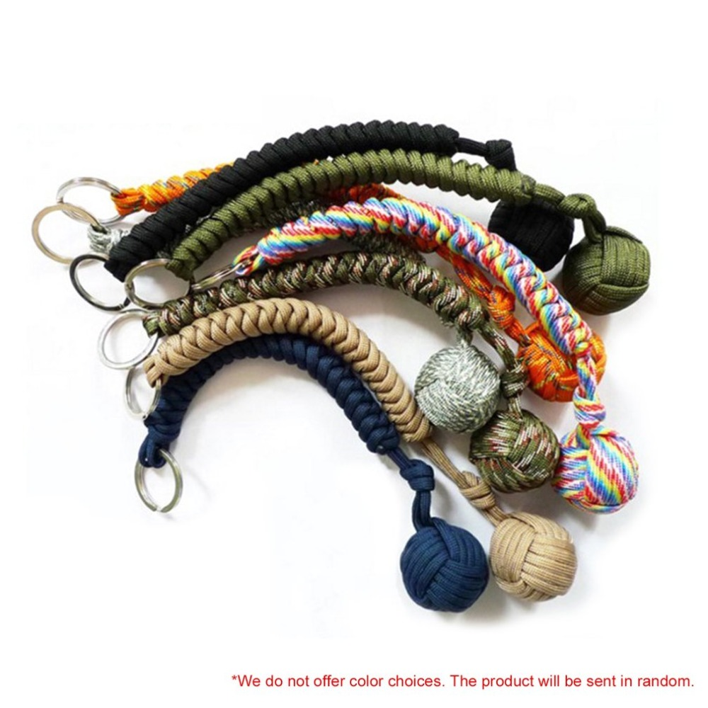 цена Outdoor Self-defense Survival Hanging Knot Ball Portable Hand Weaving Umbrella Rope Body Ball Key Chain Pendant