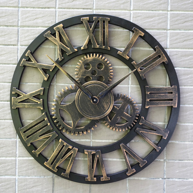 3D Retro Gear Wall Clock Wandklok Wall Clocks Saat Vintage Watch Reloj de Pared Large Decoracion Antique Klok Home Decor Watches