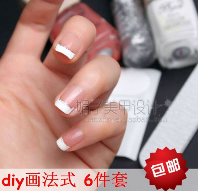 Diy painting French toiletry kit backguy pen white nail polish French stickers nail art tools supplies