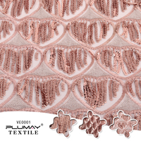 d9d7bb4bbbcdac 100 Polyester Rose Gold Glitter Embroidered 5mm Sequin Tassel Mesh Fabric  For Dress By Half 1