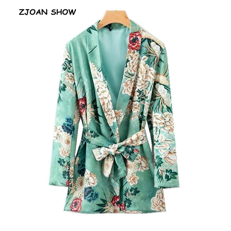 Retro Shawl Collar Green Flower Print Blazer Casual 2018 Woman Bow Tied Sashes Waist Slim Suit Jacket Coat Outerwear With Belt