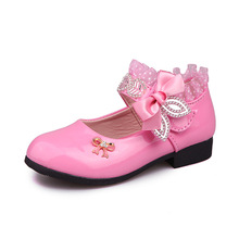 Rose Pink Red Orange Children Princess Shoes Baby Girls Kids Bows Rhinestone Leather Party shoes 3-15T