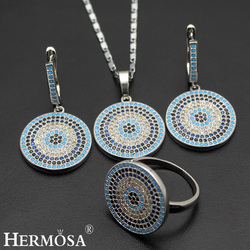 Amazing Fashion Nano Jewelry Set 925 Sterling Silver Necklace Earrings Ring 8# Sets Special Bridal Wedding Gift
