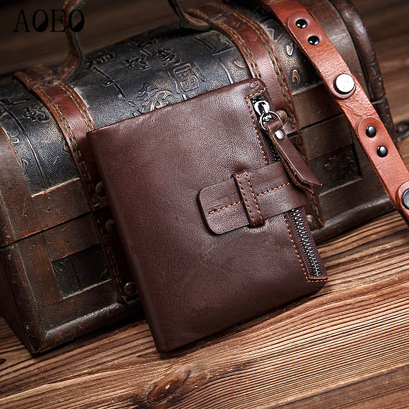 AOEO Vintage Wallets For men Oil wax Genuine Leather With zipper coin purse Short Black Coffee Small Mini Thin Wallet Male aoeo genuine leather men wallets short coin purse small vintage wallet cowhide leather card holder pocket purse men wallets mini