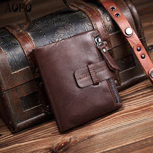 AOEO Vintage Wallets For men Oil wax Genuine Leather With zipper coin purse Short Black Coffee Small Mini Thin Wallet Male