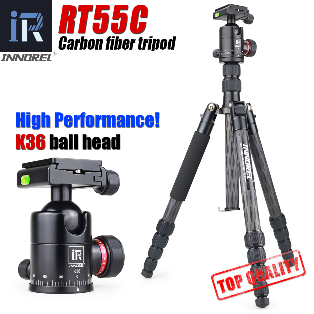 INNOREL RT55C carbon fiber camera tripod 12kg bear video travel portable DSLR tripod 5 Sections with ball head for CANON NIKON поднос gift