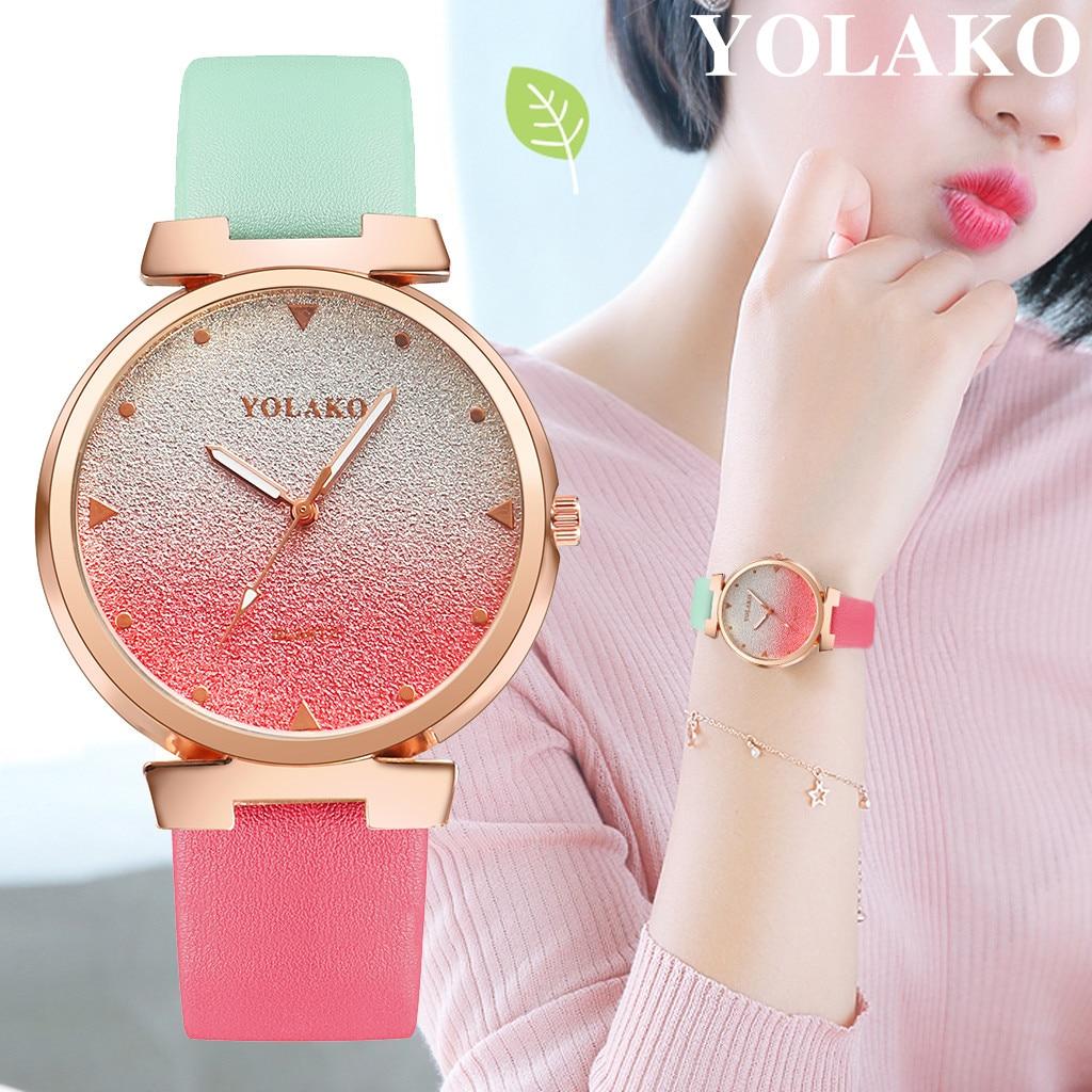 YOLAKO Women's Casual Quartz Leather Band Newv Strap Watch Analog Wrist Watch Female Clock Gift Dress New relogio feminino A10