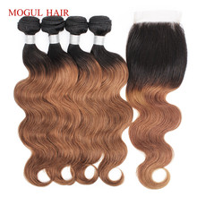 hot deal buy mogul hair ombre hair weave bundles with closure color 1b 30 3/4 bundles  brazilian body wave hair remy human hair extension