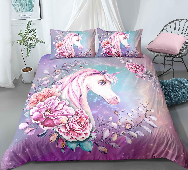 3D Floral Unicorn Bedding Set 100% Microfiber Pink Duvet cover set3D Floral Unicorn Bedding Set 100% Microfiber Pink Duvet cover set