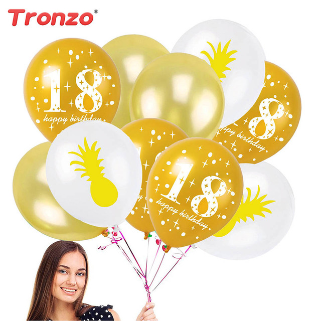 Tronzo 18th Birthday Balloon Party Decorations Adult Flamingo Pineapple Leaves Balloons Ceremony Supplies