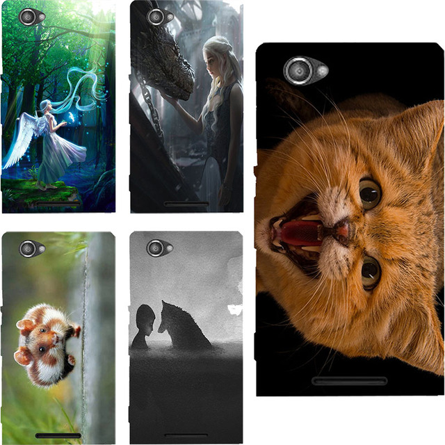 For Sony Xperia M C1905 C1904 Dual C2004 C2005 coque Cute Cat Animal Anime Painting Hard Plastic Case For Sony C1905 Case Cover