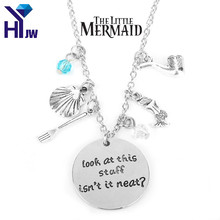 HEYu Look at This Stuff Isn't It Neat Little Mermaid Ariel Swarovski Pendant Necklace Crystal Tassel Vintage Charm Gift Jewelry(China)