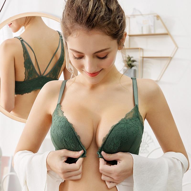 DeRuiLaDy Sexy Lace Lingerie Sem Costura Underwear Bra Fechamento Frontal Frete Grátis Fio Bonito Backless Push Up Bras Para Mulheres Bralette