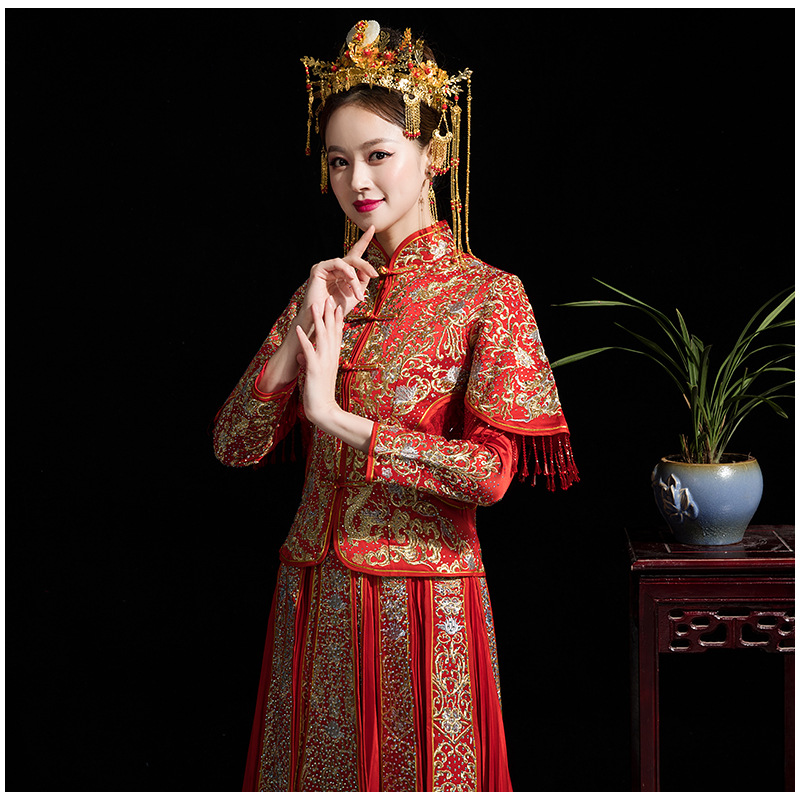 8ffbdaad723d9 Long Sleeve Chinese Traditional Wedding Dress Women Phoenix Embroidery  Cheongsam Red Qipao Evening Gown China Bride Traditions