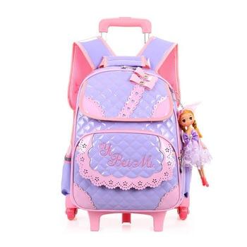 3 Wheels Trolley School Bag Girls Cartoon School Backpack Doll Zipper Children Backpack Waterproof PU Kids Trolley School Bag