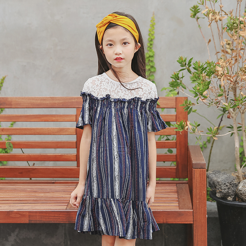 acfe0179e29d new 2018 lace patchwork dress for girl kids clothes children short sleeve  striped princess dress girl baby girls dress summer - Best Kids Clothing  Stores ...