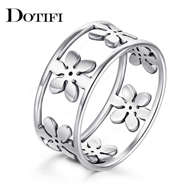 DOTIFI  316L Stainless Steel Rings For Women Six Petals Engagement Wedding Ring Jewelry
