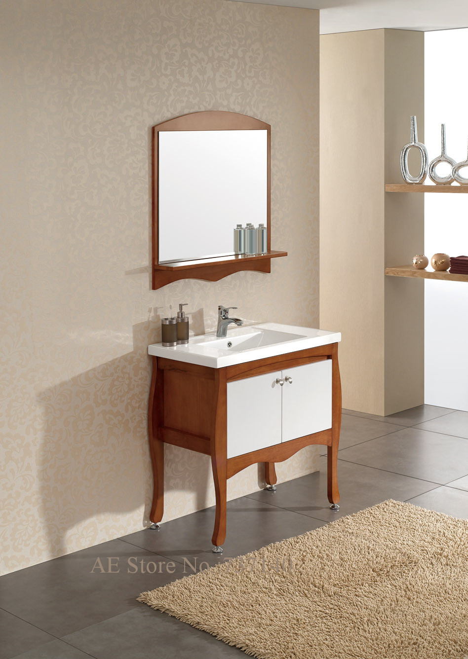 Wood bathroom cabinet - Bathroom Base Cabinet With Mirror Solid Oak Wood Bathroom Cabinet With Ceramic Sink Buying Agent Wholesale Price