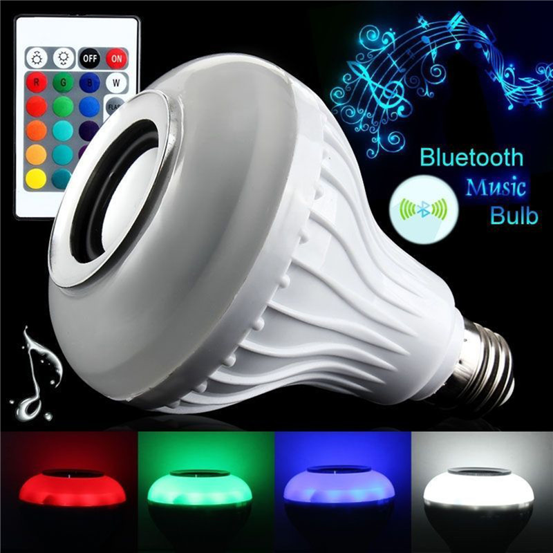 oobest White E27 Smart Wireless Bluetooth Speaker Bulb Music Playing Dimmable LED Bulb Light Lamp Remote Control Bedroom smuxi e27 led rgb wireless bluetooth speaker music smart light bulb 15w playing lamp remote control decor for ios android