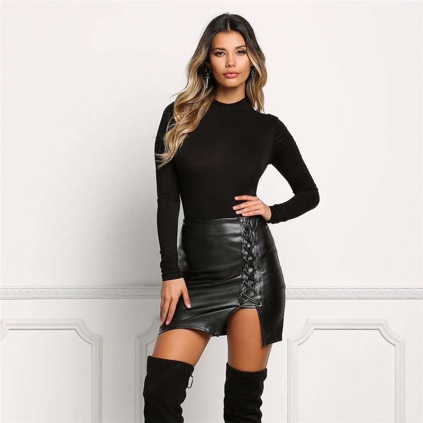 2017 New Pencil Skirt Women Black Bodycon Bandage Skirts Zipper Lace Up Split Side Slit Party Club Wear Pu Leather Women Skirt