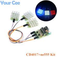 CD4017 + NE555 latarka migająca eksplozja LED Suite Self DIY nauka zestaw elektroniczny moduł stroboskopowy projekt produkcji