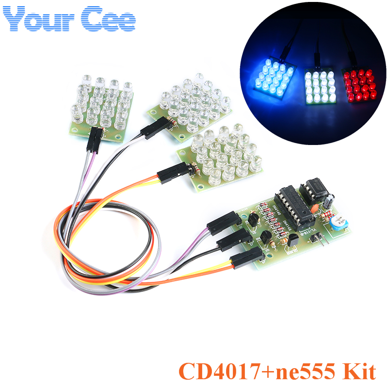 CD4017 + NE555 Flash Light Explosion-flashing LED Suite Self DIY Learning Electronic Kit Strobe Module Production Design