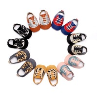 2017 New Spring Arrived 7 Colors Genuine Leather Baby Moccasins Lace Up Leopard Pattern Design Soft