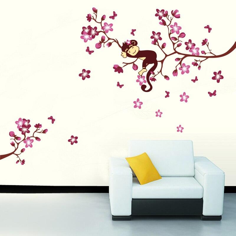 4 Cute Monkeys Wall Decals Sticker Nursery Decor Mural: Cute Monkey Sleeping On Pink Flower Flora Tree Wall Decals