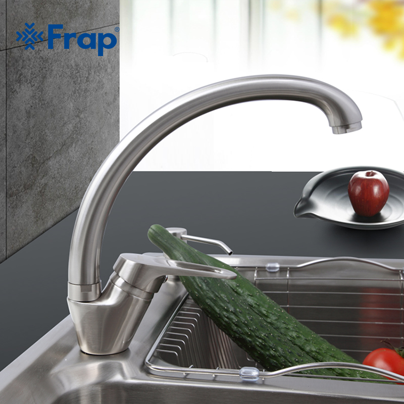 Frap 1 Set Kitchen Faucet Deck Mounted Brushed Nickel Finish Cold and Hot Water Mixer 360 Degree Swivel F4113-5 frap 1 set modern style deck mounted brass solid kitchen faucet chrome finish cold and hot water mixer f4125