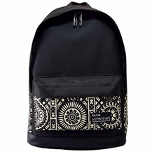 Ethnic Women Backpack for School Teenager Girl Vintage Canvas Backpack Floral Printing Schoolbag Ladies Travel Rucksack Mochila