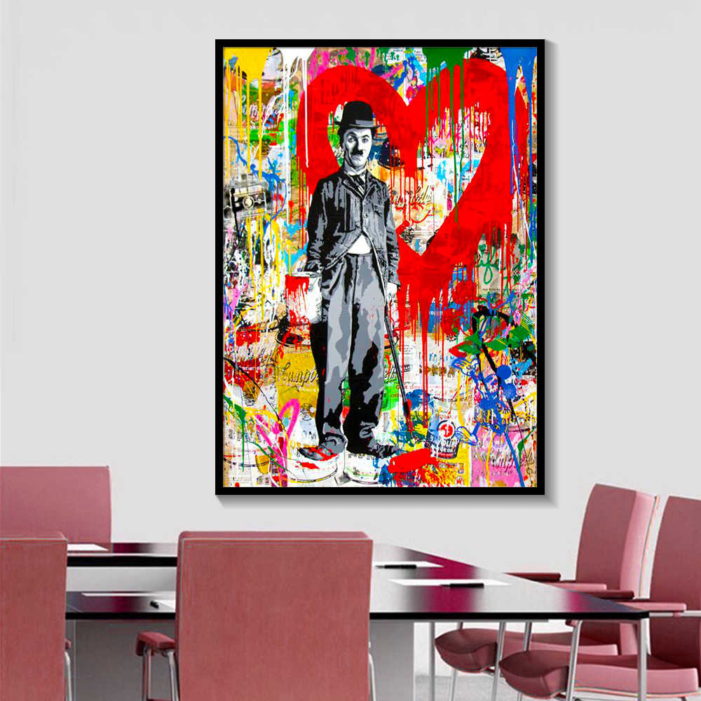 Modern Abstract Figure Canvas Charlie Chaplin Pop Art Wall Art Print Poster Picture Painting For Living Room and Home Decor