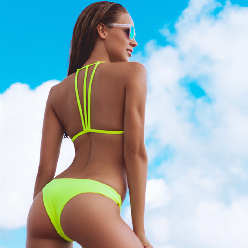 HTB1F71ySVzqK1RjSZFoq6zfcXXan Solid Bandage Bikini Set Women Sexy High Cut Bathing Suit Swimsuit New Low Waist Halter Top Swimwear Summer Beachwear Biquini